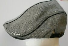 JAMONT FLAT CAP NEWSBOY GRAY CABBY HAT ADJUSTABLE COTTON KNIT ADJUSTABLE