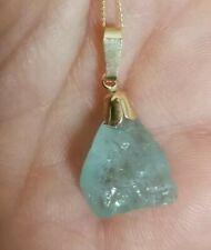 Solid 9ct Gold natural 8.35 carat rough Brazil aquamarine necklace pendant vtg