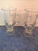 Set of 2 Baileys Irish Cream Clear Glass Mugs  Baileys Logo and Handle Bar