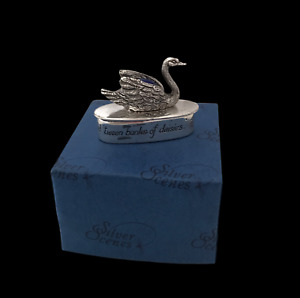 Silver Scenes Swan Pin Cushion Box Pot Trinket Gift Pill Boxed Silver Plated