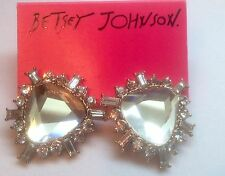 Betsey Johnson $35 Iconic Glam Clear Crystal Triangular Shape Post Earrings
