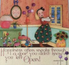 Mary Engelbreit Handmade Magnet-Happiness Often Sneaks Through a Door
