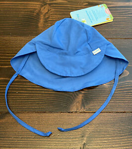 NWT iPLAY BLUE Solid Flap Neck Ties Sun Hat 9-18 months  UPF 50+