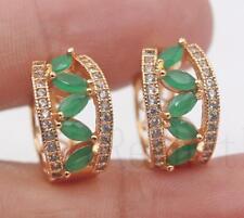 18K Gold Filled - Cat Eye Hollow Leaf Emerald Topaz Multilayer Party Earrings