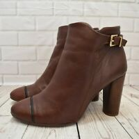 Womens NEXT Brown Leather Zip Up High Heel Ankle Boots Shoe Size UK 7 EUR 41