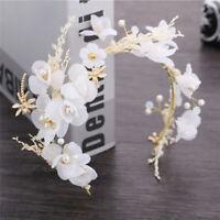 HK- Faux Pearl Crystal Bridal Wedding Dress Flower Headband Hair Accessories Sur