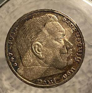 HINDENBURG WW II  GERMAN SILVER COIN 1939 B 5 Reichsmark 900 silver