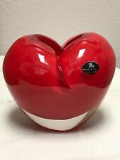 "Duccio di Segna Stunning Red Heart Vase Italy Heavy Crystal 5"" Tall"