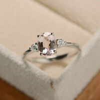 1.70 Ct Oval Cut Morganite Diamond Wedding Ring 925 Sterling Silver Size M N P