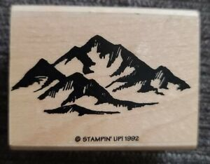 Mountain Range Sketch Majestic Landscape Stampin' Up! 1992 Wood RUBBER STAMP