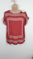 WOMENS BNWT MONSOON RED & WHITE SHORT SLEEVED TOP BLOUSE SIZE M MEDIUM
