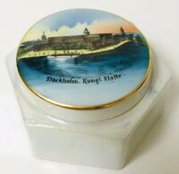 Stockholm Kungliga Slottet Royal Palace Sweden Covered Dish Pearl Iridescent VTG