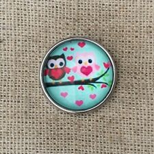 Noosa style chunk snap for leather bracelet -Little owls-mint green