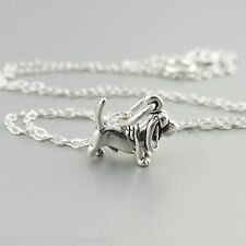 Tiny Basset Hound Necklace - 925 Sterling Silver - Dog Doggy Charm Puppy NEW Pet