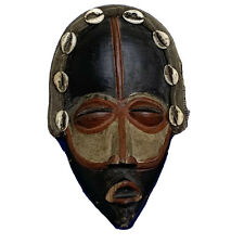 Vintage Dan Liberia African Tribal Wood Cowry Shell Small Mask With Flaws