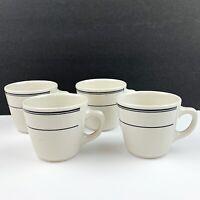 Vtg 4 HOMER LAUGHLIN White Black Striped Restaurant Ware Coffee Mugs Art Deco