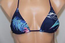 NWT Roxy Swimsuit Bikini Top Bra Sz L Navy Multi Halter Slide