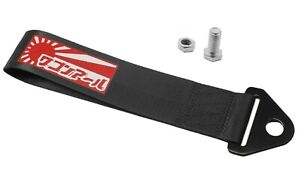 JDM RAISING SUN High Strength Tow Strap for Front Rear Bumper Towing Hook-Black
