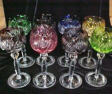 "(SET OF 8) BOHEMIAN Czech Cut Clear Crystal 8"" WINE HOCK Glass Goblet EXCELLENT"