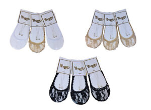 Ladies Women Girls Footsies Lace Invisible Socks Shoe Liner 3Pairs Cotton Blend