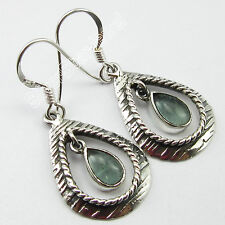 925 Sterling Silver Authentic APATITE SEMI PRECIOUS GEMSTONE ART Earrings 3.7 CM