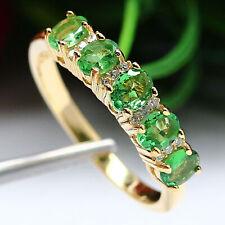 NATURAL GREEN TSAVORITE GARNET & WHITE ZIRCON CAMBODIA RING 925 STERLING SILVER