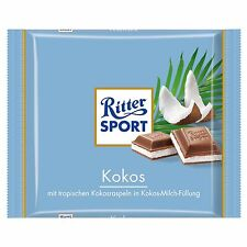 3 x 100g pack Ritter Sport Coconut Chocolade NEW and fresh from Germany