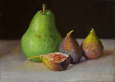 small original daily painting realism still life pear figs 7x5, Y Wang fine art