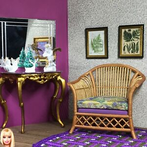 1:6 Dollhouse miniature cane rattan armchair gold/green/lilac - Barbie scale