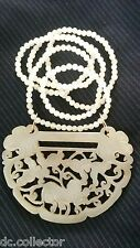 Chinese White Jade Wedding Lock Form Necklace Pendant-Dragons Butterfly-14k Gold