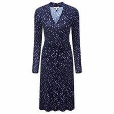 Pure Collection Gathered Jersey Dress Navy Blue Size UK 10 LF077 KK 26