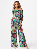 Attitudes by Renee Como Jersey Convertible Neck Jumpsuit, Navy Tropical, L