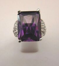 925 Sterling Silver Ring With Amethyst And White Topaz UK R, US 8.75 (rg1735)