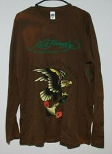 ED HARDY MENS LONG SLEEVE SHIRT US NAVY SOFT BROWN LARGE