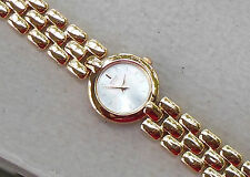 SEIKO Goldtone Ladies Quartz Thin Dress Watch NWT Mother of Pearl Face Crystal