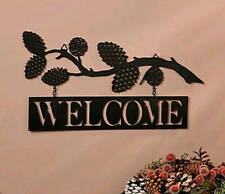 Metal LODGE WELCOME SIGN WALL HANGING ~ PINECONES & BRANCH SILHOUETTE