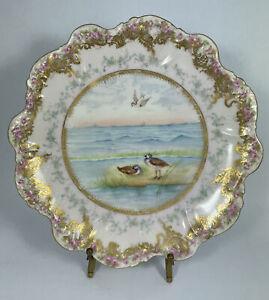 Antique Elite Works Limoges Hand Painted Birds Pink Roses Cabinet Plate 19L