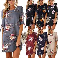 Women's Boho Floral Long Tops Blouse Ladies Summer Casual Tunic Dress Plus Size