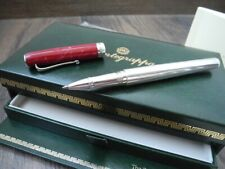 RARE MONTEGRAPPA Z300 STERLING SILVER RED MARBLE ROLLERBALL PEN