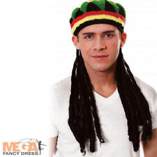 Jamaican Hat + Hair Mens National Dress Music Bob Marley Fancy Dress Costume Hat