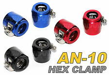 "Aluminium Hex Finisher Clamp Hose End - AN10 Braided or 13mm ID 1/2"" Rubber Hose"