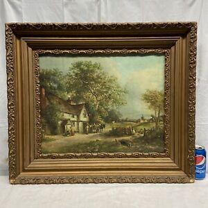 Vtg 20-30's Ornate Frame J. Barkey Country Tavern Inn Wagon Children Play Print
