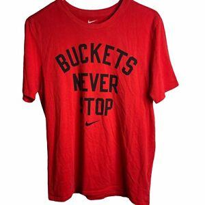 Nike Men's Dri Fit T-Shirt Men's M Red Buckets Never Stop Basketball