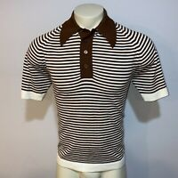 Vtg 50s 60s MENS LARGE Polo Shirt Stretchy Banlon Mid Century Mod disco Striped