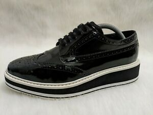 PRADA Wingtip Oxford Patent Leather Platform Sneakers Brogue Oxford Loafers
