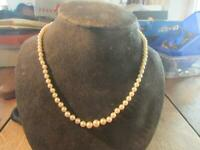 Beautiful Vintage Cultured Pearl Necklace & 9ct White Gold & Diamond Clasp,