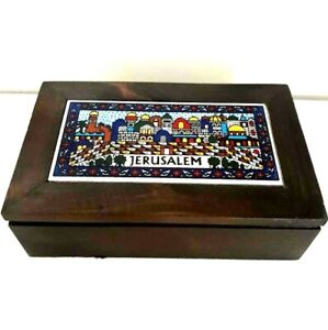 Handmade Jewelry Wooden Box Holy Land Jerusalem Ceramic Top Art Home Decoration