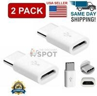 2 Pack Micro USB to Type C Adapter Converter Micro-B to USB-C Connector White