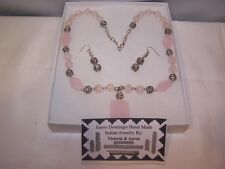 Santo Domingo Rose Quartz Necklace and earring set native american jewelery