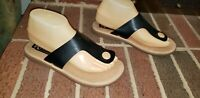 KORKS KORK-EASE BLACK TAN LEATHER THONG SANDALS WOMENS SIZE 8/39